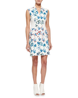 Leaf-Print Asymmetric Zip Dress, White