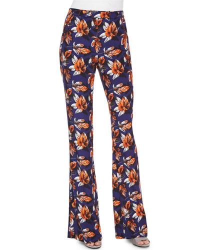 Leaf-Print High-Waist Flared Pants