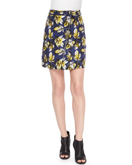 Zip-Front Leaf Pattern Skirt, Navy