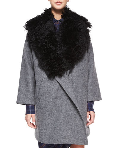 Fur-Trim Cotton-Blend Coat