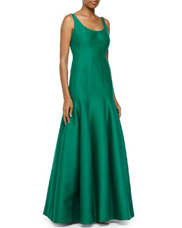 Tulip-Skirt Sleeveless Gown, Emerald