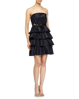 Strapless Leather-Detail Ruffled Dress