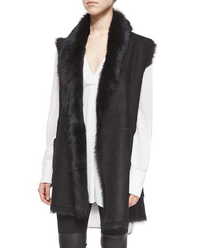 Shearling Fur Tie-Waist Vest