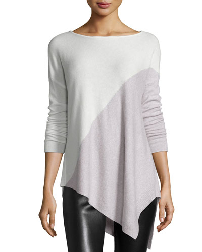 Asymmetric Colorblock Top, Cream