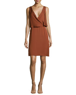 Osteen Silk Wrap-Front Dress, Cassis