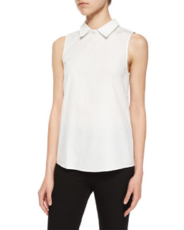 Marbie Sartorial Collared Top, White