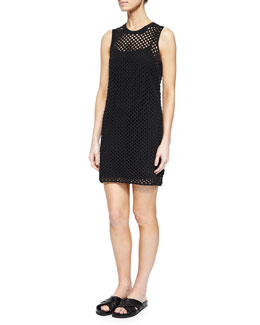 Natialee Crocheted Sleeveless Dress, Black