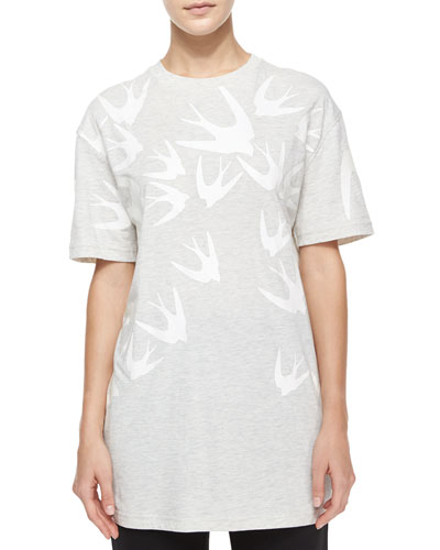 Short-Sleeve Swallow-Print Boyfriend Tee