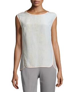 Tamara Cap-Sleeve Silk Blouse