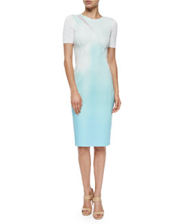 Axel Short-Sleeve Neoprene Sheath Dress