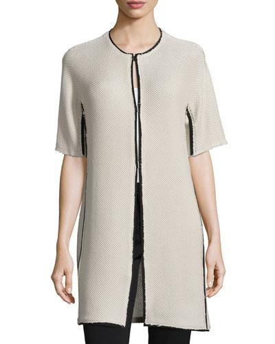 Bea Short-Sleeve Colorblock Coat