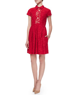 Short-Sleeve Pleated Lace Shirtdress