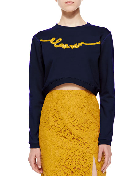 Enscripted Cropped Sweatshirt