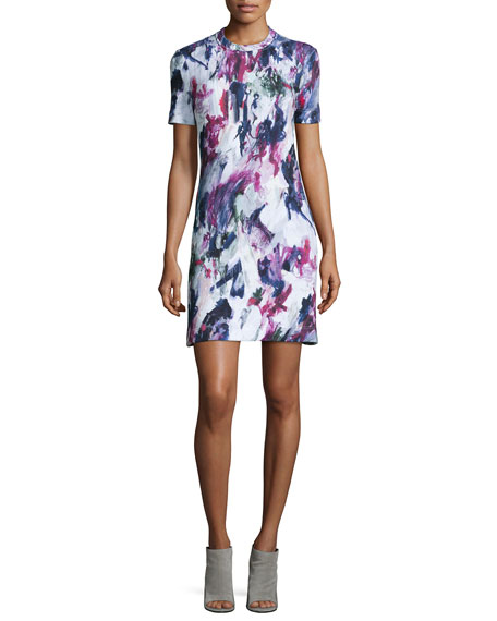 Printed Short-Sleeve Sweatshirt Dress