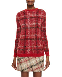 Long-Sleeve Jewel-Neck Plaid Sweater, Rouge