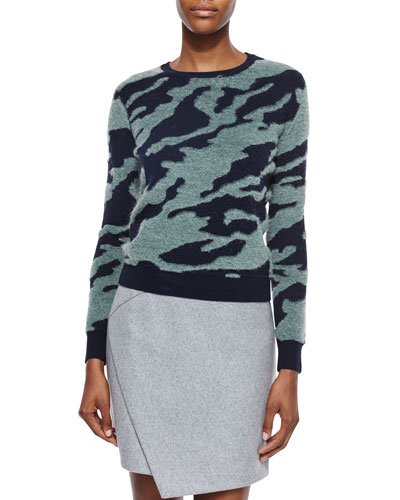 Textured Camo Wool Pullover