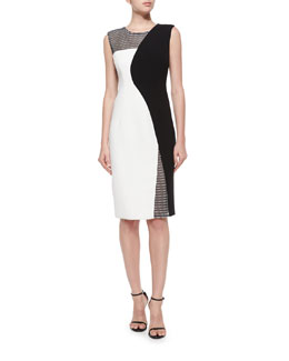 Couture Mesh Helix Sheath Dress, Black/White