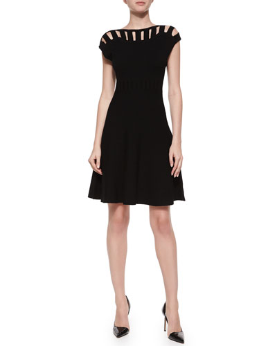 Open Bar Inset Flare Dress, Black