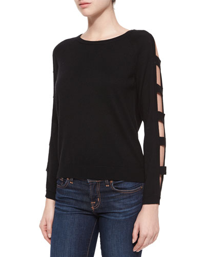 Open Bar Long-Sleeve Pullover, Black