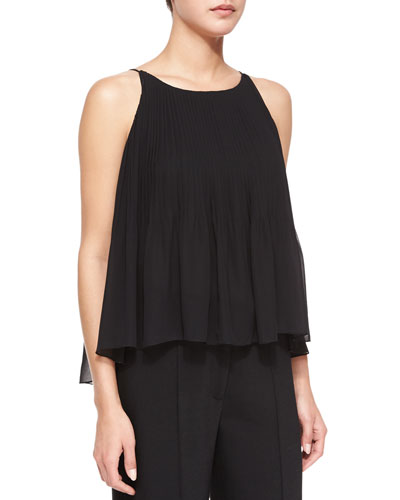 Chloe Pleated Chiffon Tank, Black