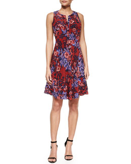 Silk Floral-Print Dress, Red