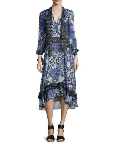 Combo-Print Tie-Neck Silk Dress, Misty Gray Flame