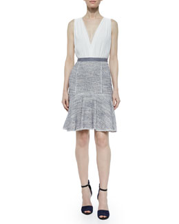 Sleeveless Crepe & Tweed Dress, Blue/White