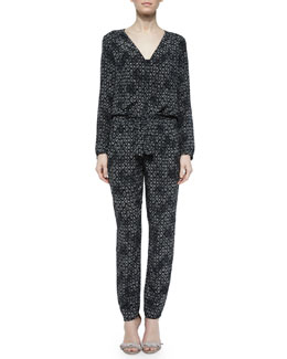 Long-Sleeve Box Step Jumpsuit, Black
