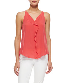 Silk Ruffle Top, Lipstick Red