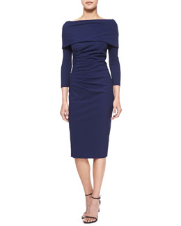 Signorina Long-Sleeve Ruched Cocktail Dress
