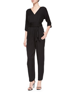 3/4-Sleeve Silk Crepe Jumpsuit, Black