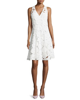 Mi Amor Sheath Dress with Cutwork Embroidery, White