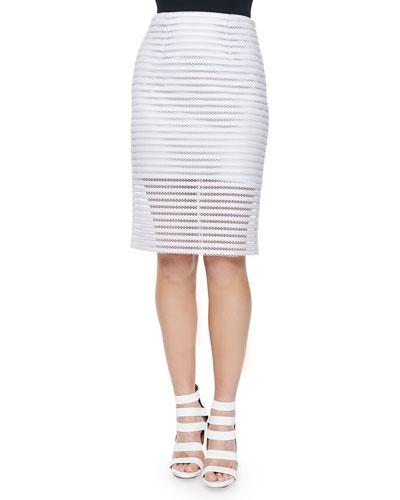 Easy Breezy Mesh Striped Pencil Skirt