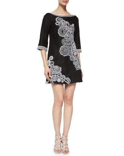 3/4-Sleeve Paisley-Print Dress