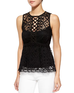 Lacy Crewneck Peplum Lace Top, Black