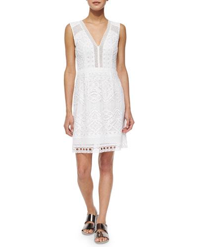 Breezy V-Neck Lace Sheath Dress
