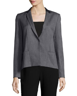 Ellen Zip-Back Contrast-Collar Jacket