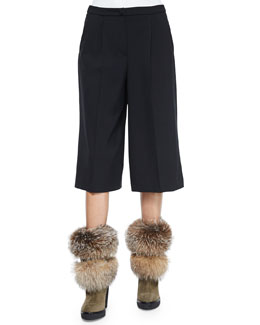 Pleated-Front Gaucho Pants, Black