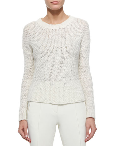 Moncler Cable Knit Sweater, Cream