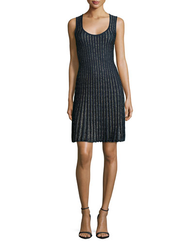 Sleeveless Metallic Vertical Stripe Dress, Navy
