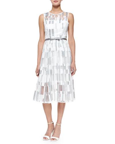 Sleeveless Cubist Pleated Dress