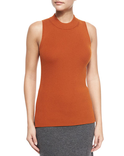 Alanna Sleeveless Merino Top, Umber