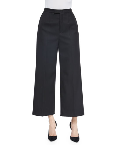 High-Waist Cropped Wide Leg Pants