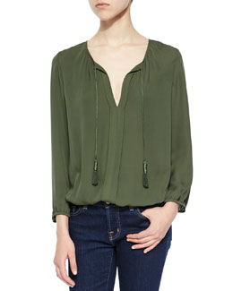 Jacinta Split-Neck Silk Top