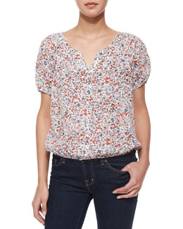 Linara Floral-Print Button-Down Blouse