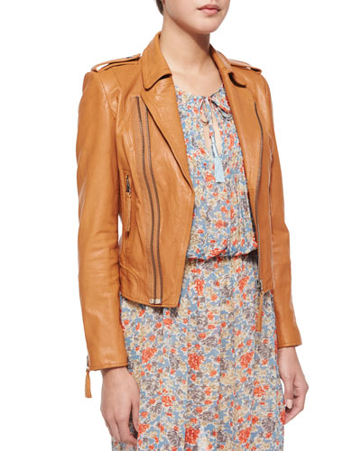 Ailey Paper-Weight Leather Moto Jacket, Honey