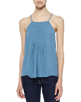 Larisse Pleated-Front Silk Top