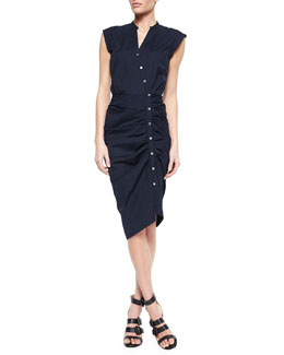 Ruched Asymmetric Cap-Sleeve Shirtdress, Navy