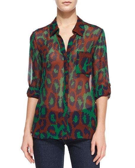 c851a6ac79b87b Diane von Furstenberg Lorelei Sheer Leopard-Print Blouse