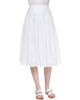 Pleated Cotton Voile Skirt, Sea Salt